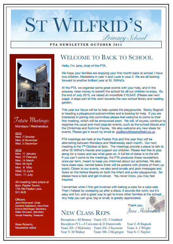 PTA Newsletter October 2015